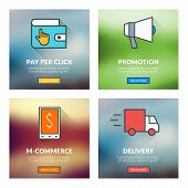 Set Of Flat Design Concepts. Pay Per Click, Promotion, M-commerce, Delivery. Vector Illustration Wit