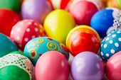 Various Easter eggs with creative colorful painting