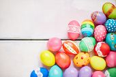 Creatively painted Easter eggs of different colors