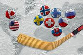 picture of hockey arena  - Hockey stick with images of flags and hockey field - JPG