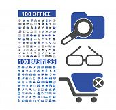 200 office, business, marketing, retail, ecommerce, management isolated design flat icons, signs, illustrations vector set on background