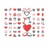 love, wedding, romance, relation, family, couple isolated design flat icons, signs, illustrations vector set on background
