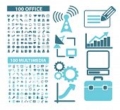200 office, document, multimedia, media, network, internet, website isolated design flat icons, signs, illustrations vector set on background