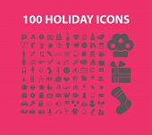 100 holidays, events, party, celebration isolated design flat icons, signs, illustrations vector set on background