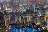 hong kong public housing at night