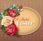 Easter vintage card with rose bouquet. Vector eps 10.