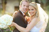 image of lovable  - Happy bride and groom on their wedding - JPG