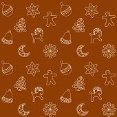 Christmas Ginger Bread Cookies Seamless Pattern, Vector Illustration