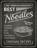 Noodles poster on chalkboard.