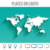 Places On Earth World Map, Flat Vector Illustration