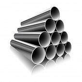 Steel Pipes on a white background. illustration.