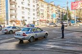 Russian Patrol Vehicle Of The State Automobile Inspectorate In Summer Sunny Day