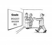 image of blindfolded man  - Cartoon of blindfolded businessman selecting the goals for the year - JPG