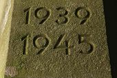 Years 1939 to 1945. The years of World War II carved in the stone.