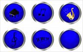Blue music buttons