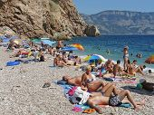 Vacationers People On Beach Vasili In Balaclava