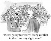 image of leader  - Cartoon of businessman leader saying to keynote speaker - JPG