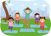 picture of stickman  - Illustration of Stickman Kids Doing Yoga Outdoors - JPG