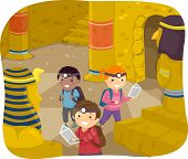 Illustration of Stickman Kids Exploring the Interior of a Pyramid