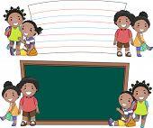 Stickman Illustration of African Kids Standing Beside Blank Boards