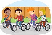 Illustration of Stickman Kids Riding on Their Bikes