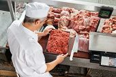 pic of slaughterhouse  - High angle view of butcher holding minced meat tray at display cabinet in butchery - JPG