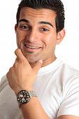 Happy Smiling Man Wearing Watch