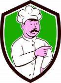 Chef Cook Mustache Pointing Shield Cartoon
