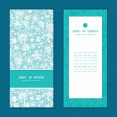 Vector blue and white lace garden plants vertical frame pattern invitation greeting cards set