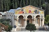 image of gethsemane  - Gethsemane Church in Mount of Olives in Jerusalem Israel - JPG
