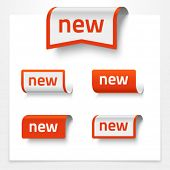 Vector set of folded signs saying NEW
