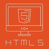 line drawn simple illustration of orange shield with html five sign on the screen, isolated white we
