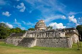 Chichen Itza Ruins Mexico Mayan Culture. Traveling Wonder Park. Caracol Building.