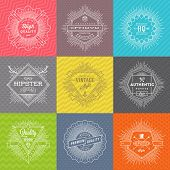 Vector set of line signs and emblems with hipster symbols and type design on a colored pattern background