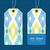 Vector colorful fabric ikat diamond vertical stripe frame pattern tags set