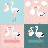 Stork With Baby Set With Gradient Mesh, Vector Illustration