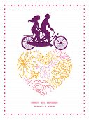 Vector flowers outlined couple on tandem bicycle heart silhouette frame pattern greeting card templa
