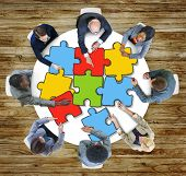 Jigsaw Puzzle Brainstorming Business Discussion Thinking Strategy Concept