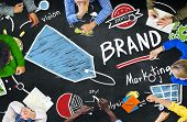 Diverse People Aerial View Blackboard Marketing Brand Concept
