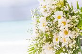 picture of cabana  - white flowers on wedding cabana on natural outdoor background - JPG