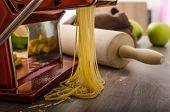 stock photo of carbonara  - Homemade spaghetti carbonara with semolina  - JPG