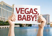 Vegas, Baby! card with the famous fountains show on background