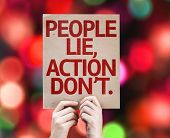 People Lie, Action Don't card with bokeh background