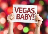 Vegas, Baby! card with colorful background with defocused lights