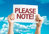 Please Note card with sky background