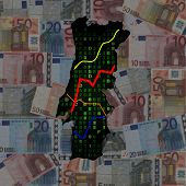 Portugal map with hex code and graphs on euros illustration