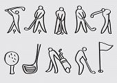 stock photo of caddy  - Stylized line art vector cartoon icons for golf sports isolated on grey plain background - JPG