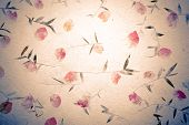 Vintage Mulberry Paper With Flower Texture Background