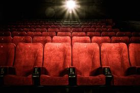 image of cinema auditorium  - Empty comfortable red seats with numbers in cinema - JPG