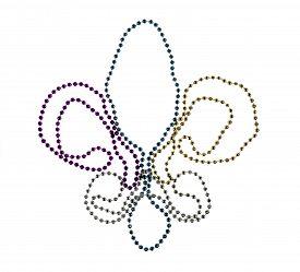 stock photo of debauchery  - Shiny gold purple blue and silver Mardi Gras beads on white background - JPG